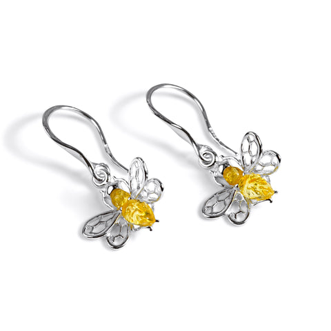 Honey Bee Drop Earrings in Silver and Yellow Amber