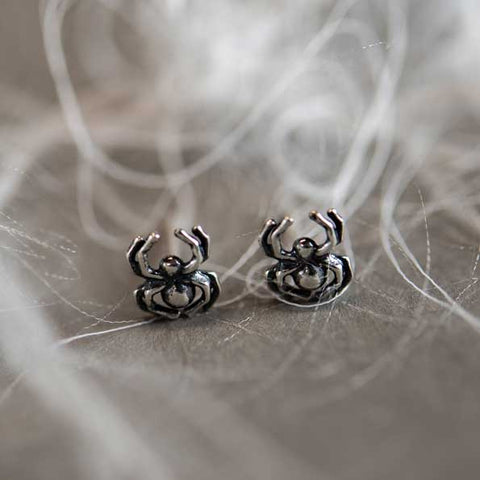 Spider Stud Earrings in Silver