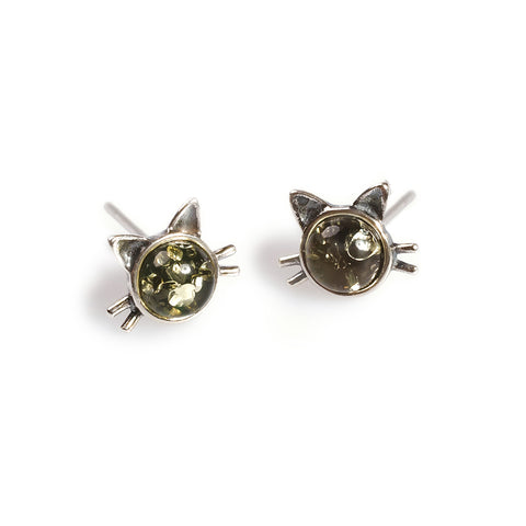 Cute Cat Face Stud Earrings in Silver and Green Amber