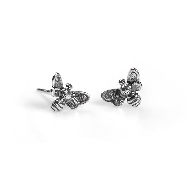 Miniature Bee Stud Earrings in Silver