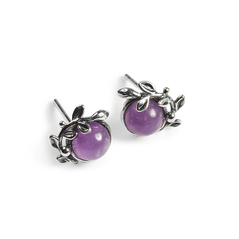 Leaf Motif Stud Earrings in Silver and Amethyst