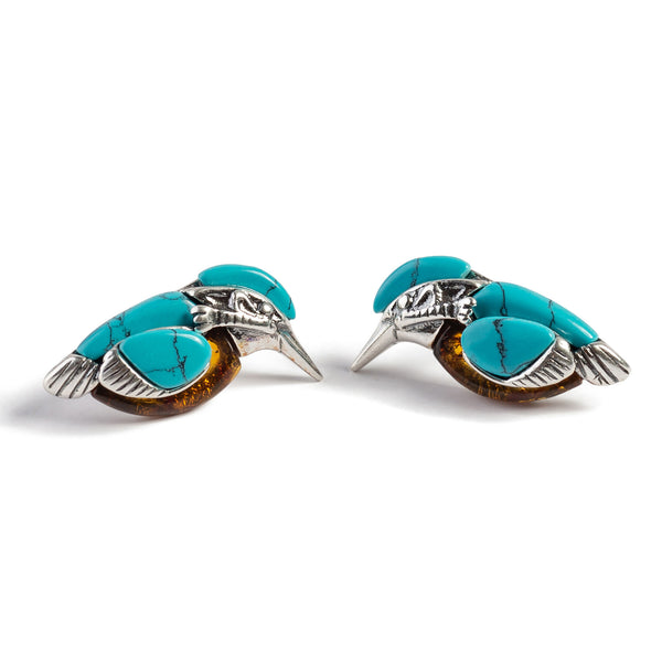 Kingfisher Bird Stud Earrings in Silver, Turquoise and Amber