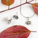 Miniature Elephant Stud Earrings in Silver