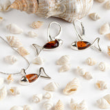 Little Fish / Ichthys Fish Earrings in Silver and Amber