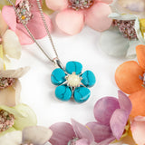 Forget Me Not Necklace in Silver, Turquoise and Amber