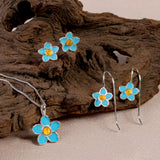Handpainted Forget Me Not Necklace in Silver and Yellow Amber