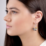 Ginkgo Flower Hook Earrings in Silver and Amber