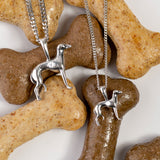 Miniature Greyhound / Whippet Dog Necklace in Silver