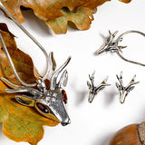 Stag Head Brooch in Silver and Amber