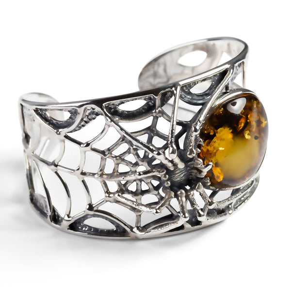 Captivating Spider Bangle in Silver and Amber