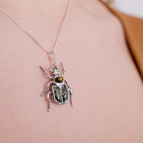 Noble Chafer Beetle Necklace in Silver and Green Amber