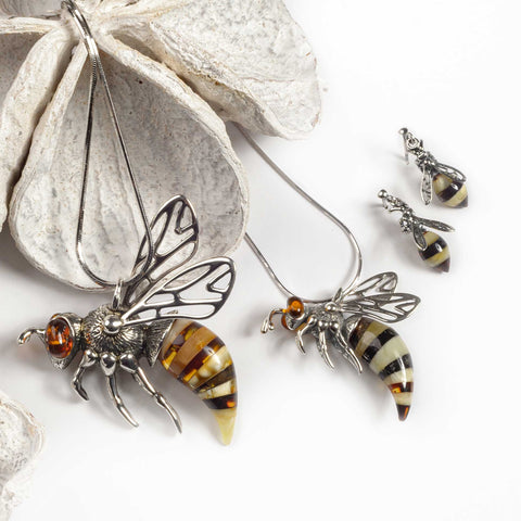 Small Hornet Bee Necklace in Silver and Amber