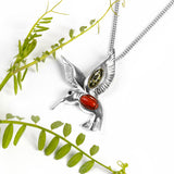 Hovering Hummingbird Necklace in Silver, Green Amber and Coral