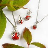 Little Ladybird Necklace in Silver and Coral