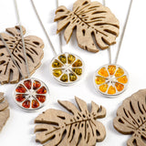 Orange Slice Fruit Necklace in Silver and Cognac Amber