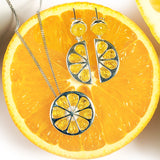 Lemon Slice Necklace in Silver and Yellow Amber