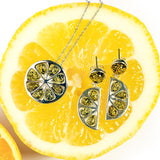 Lime Slice Drop Earrings in Silver and Green Amber