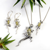 Lizard Drop Earrings in Silver and Green Amber