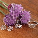 Lotus Flower Ring in Silver