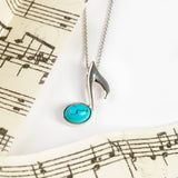 Quaver Music Note Necklace in Silver and Turquoise
