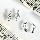 Music Note Stud Earrings in Silver