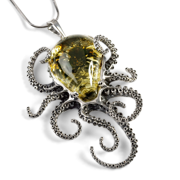 Striking Large Octopus Necklace in Silver and Green Amber