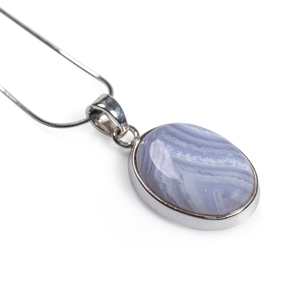 Blue Lace Agate Oval Necklace Set in Silver