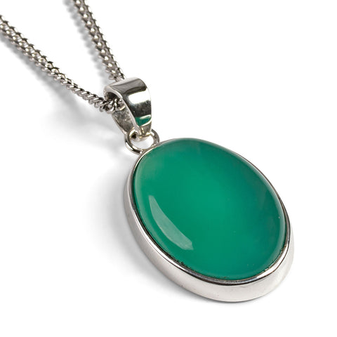 Green Chrysoprase Necklace in Silver - Natural Designer Gemstone