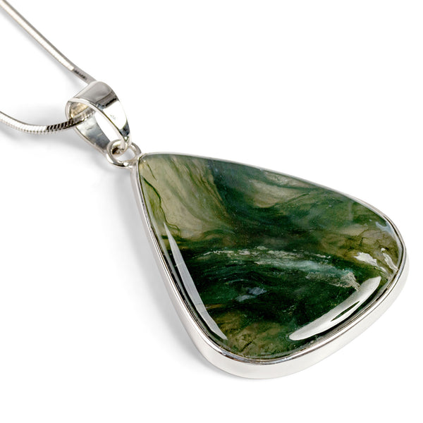 Beautiful Moss Agate Necklace - Natural Designer Gemstone