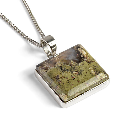 Green Priday Moss Agate Necklace - Natural Designer Gemstone