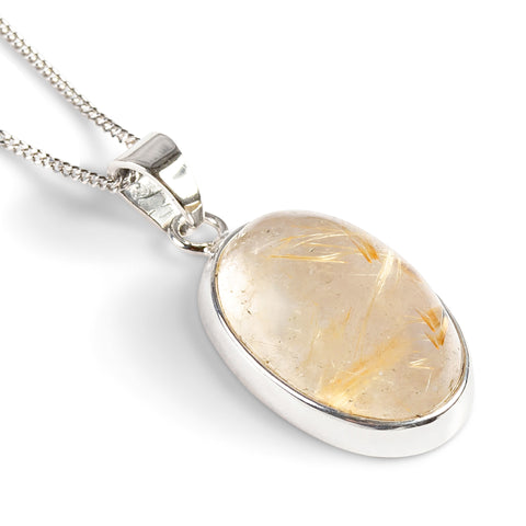 Brazilian Golden Routile Gemstone Necklace - Natural Designer Gemstone