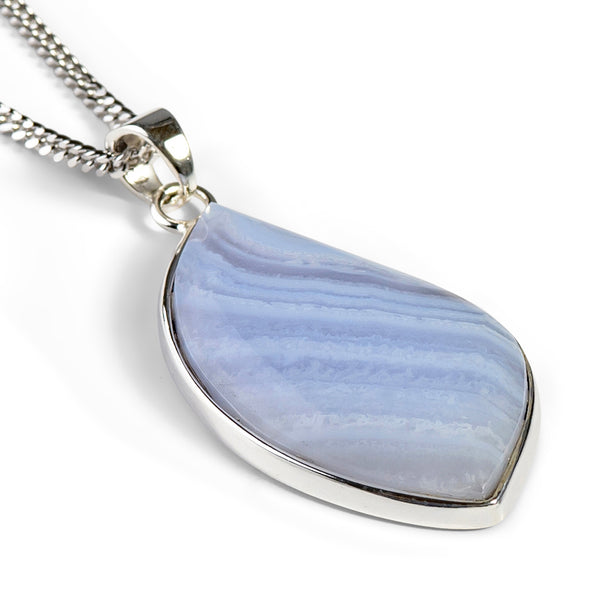 Oblong Blue Lace Agate Gemstone Necklace - Natural Designer Gemstone