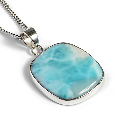 Tranquil Larimar Gemstone Necklace - Natural Designer Gemstone