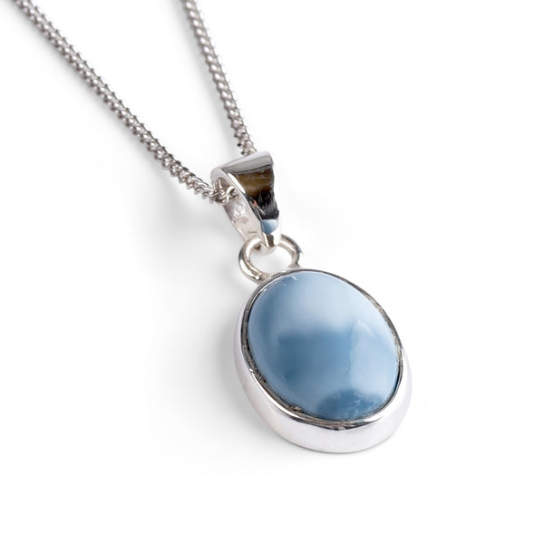 Oval Owyhee Blue Opal Necklace - Natural Designer Gemstone