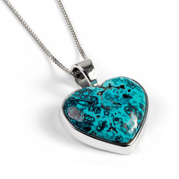 Heart Shaped Shattuckite Necklace - Natural Designer Gemstone