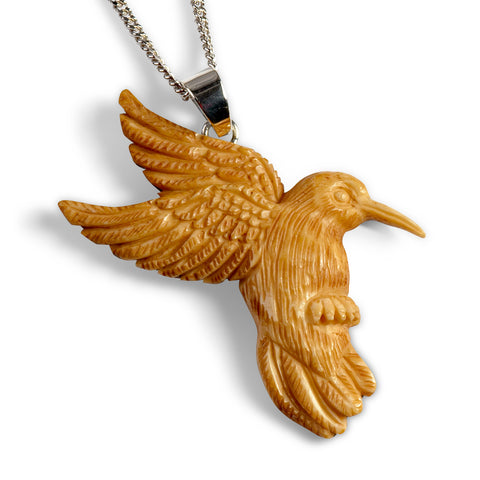 Hand Carved Hummingbird Necklace in Buffalo Bone - Natural Designer Gemstone