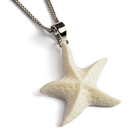 Hand Carved Starfish Necklace - Natural Designer Gemstone