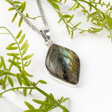 Natural Labradorite Leaf Necklace - Natural Designer Gemstone