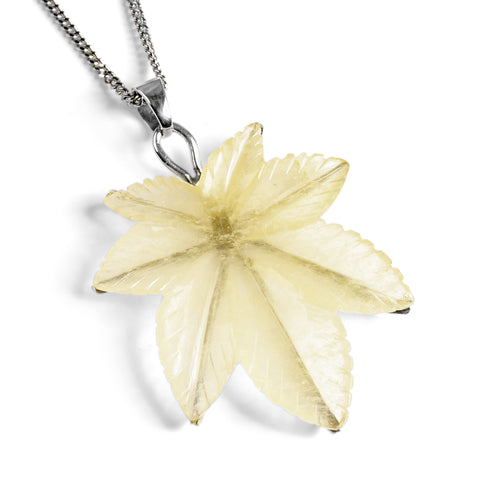 Calcite Handcrafted Carved Leaf Necklace - Natural Designer Gemstone