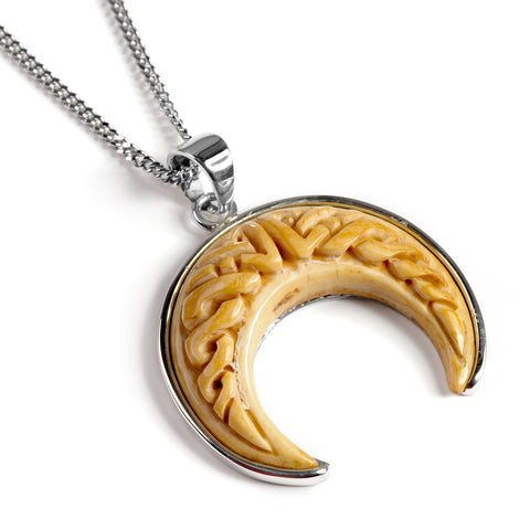 Crescent Moon Handcarved Necklace in Buffalo Bone - Natural Designer Gemstone