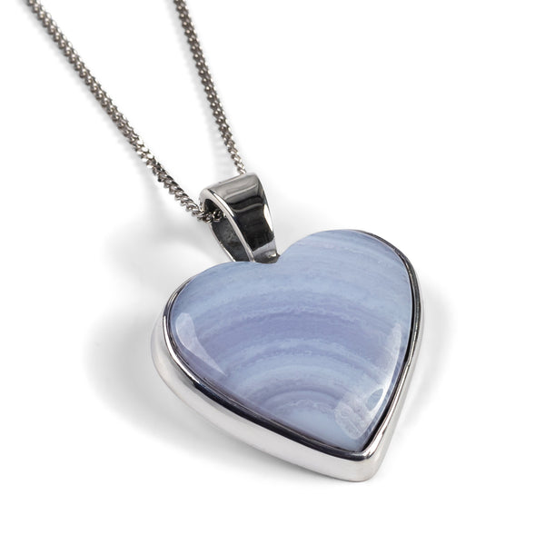 Heart Shaped Blue Lace Agate Gemstone Necklace - Natural Designer Gemstone
