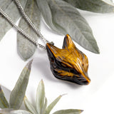 Golden Tigers Eye Hand Carved Fox Necklace - Natural Designer Gemstone