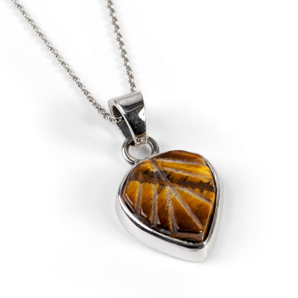 Hand Carved Tigers Eye Leaf Necklace -Natural Designer Gemstones