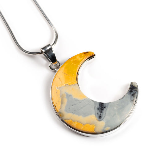 Maligano Jasper CRESCENT MOON Necklace - Natural Designer Gemstone