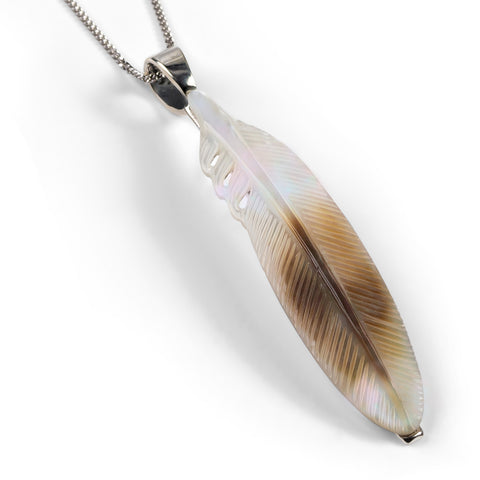Hand Carved Feather Necklace in Silver and Mother of Pearl