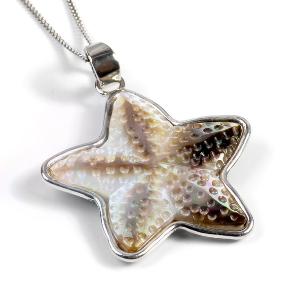 Mother of Pearl Starfish Necklace - Natural Designer Gemstone