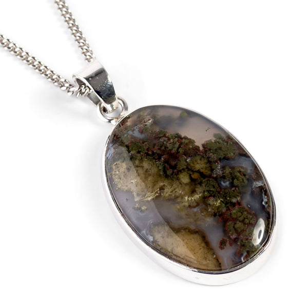 Indonesian Moss Agate Necklace - Natural Designer Gemstone