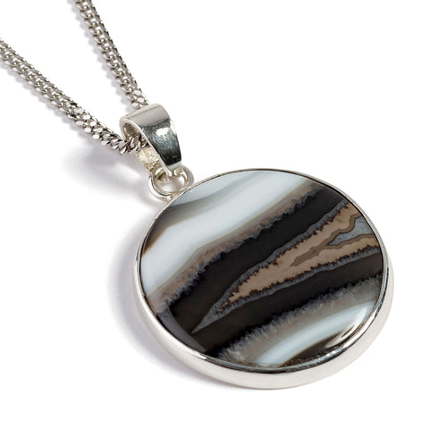 Superb Quality Black Banded Agate Necklace - Natural Designer Gemstone