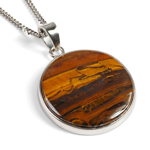 South African Iron Tigers Eye Necklace in Silver - Natural Designer Gemstone