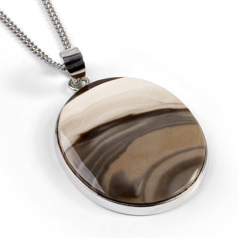 Large Oval Striped Flint Necklace Set in Silver - Natural Designer Gemstones